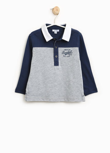Two-tone cotton and viscose polo shirt with print