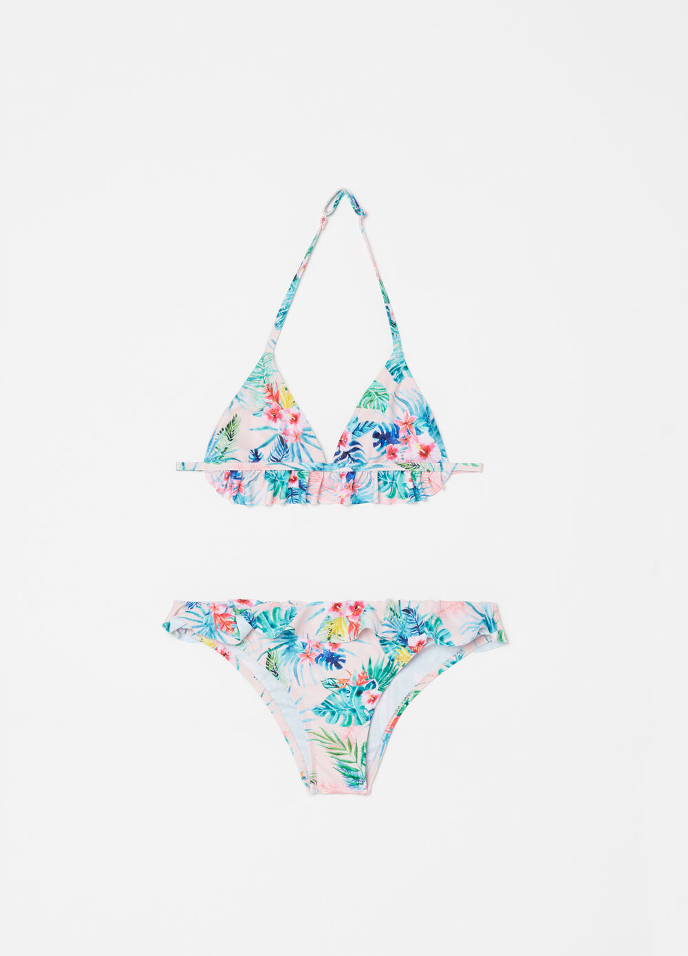Bikini with triangle top and floral briefs with flounce