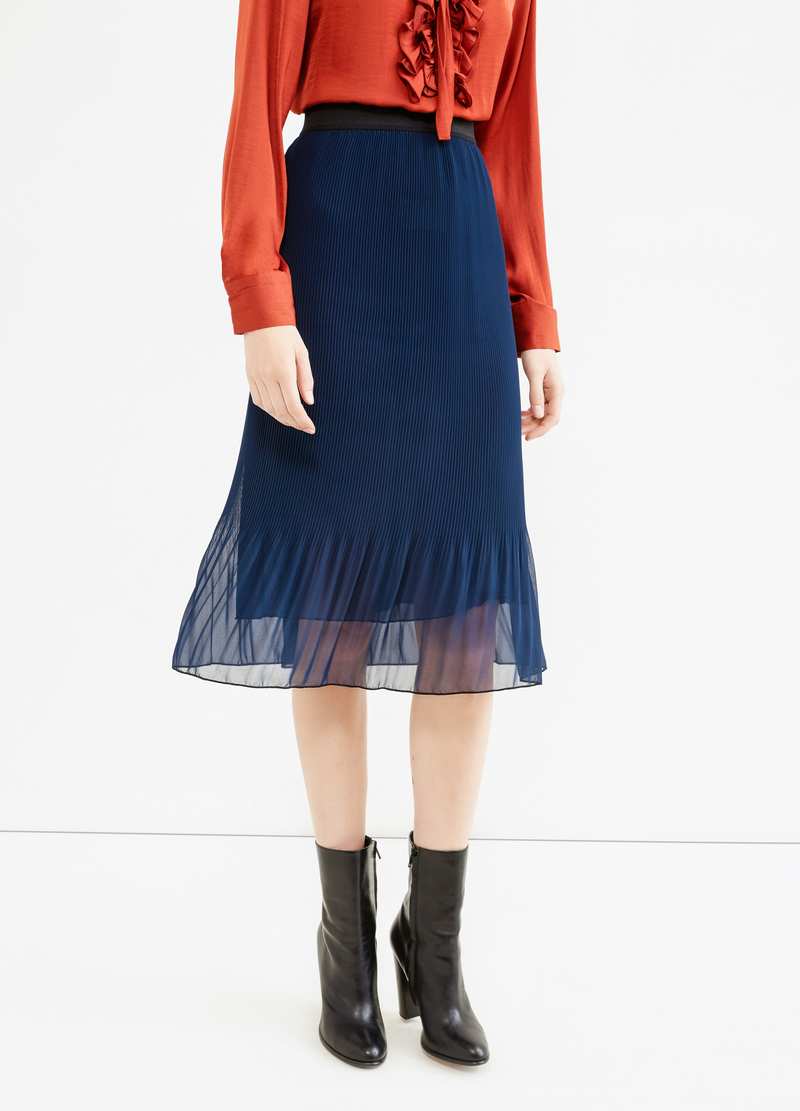 Pleated and lined tulle skirt image number null