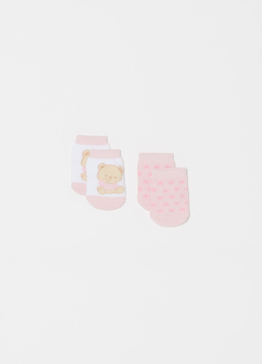 Two-pair pack patterned and printed short socks