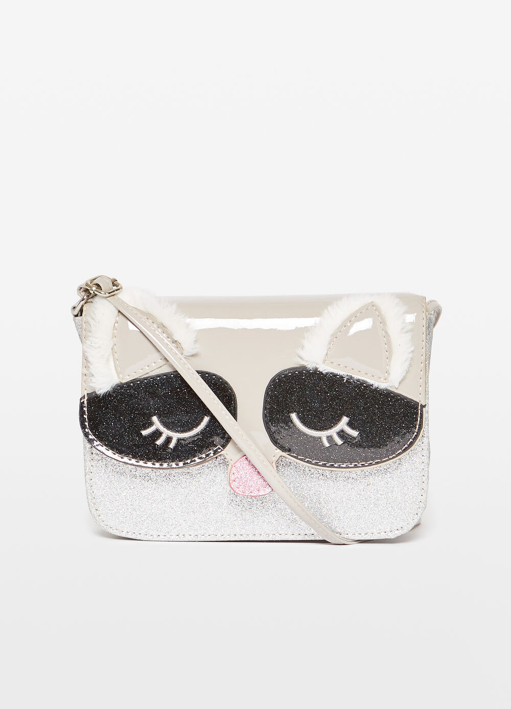 Glitter shoulder bag with animal embroidery