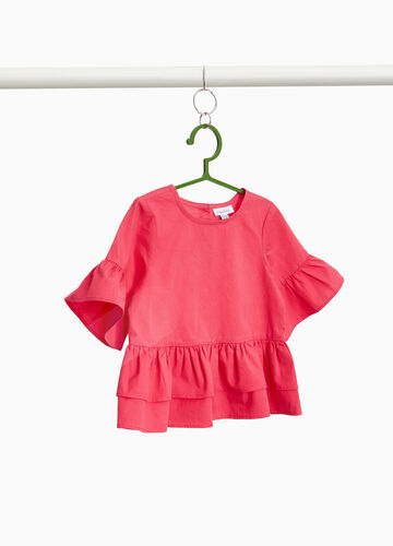 Blouse in 100% cotton with ruffles
