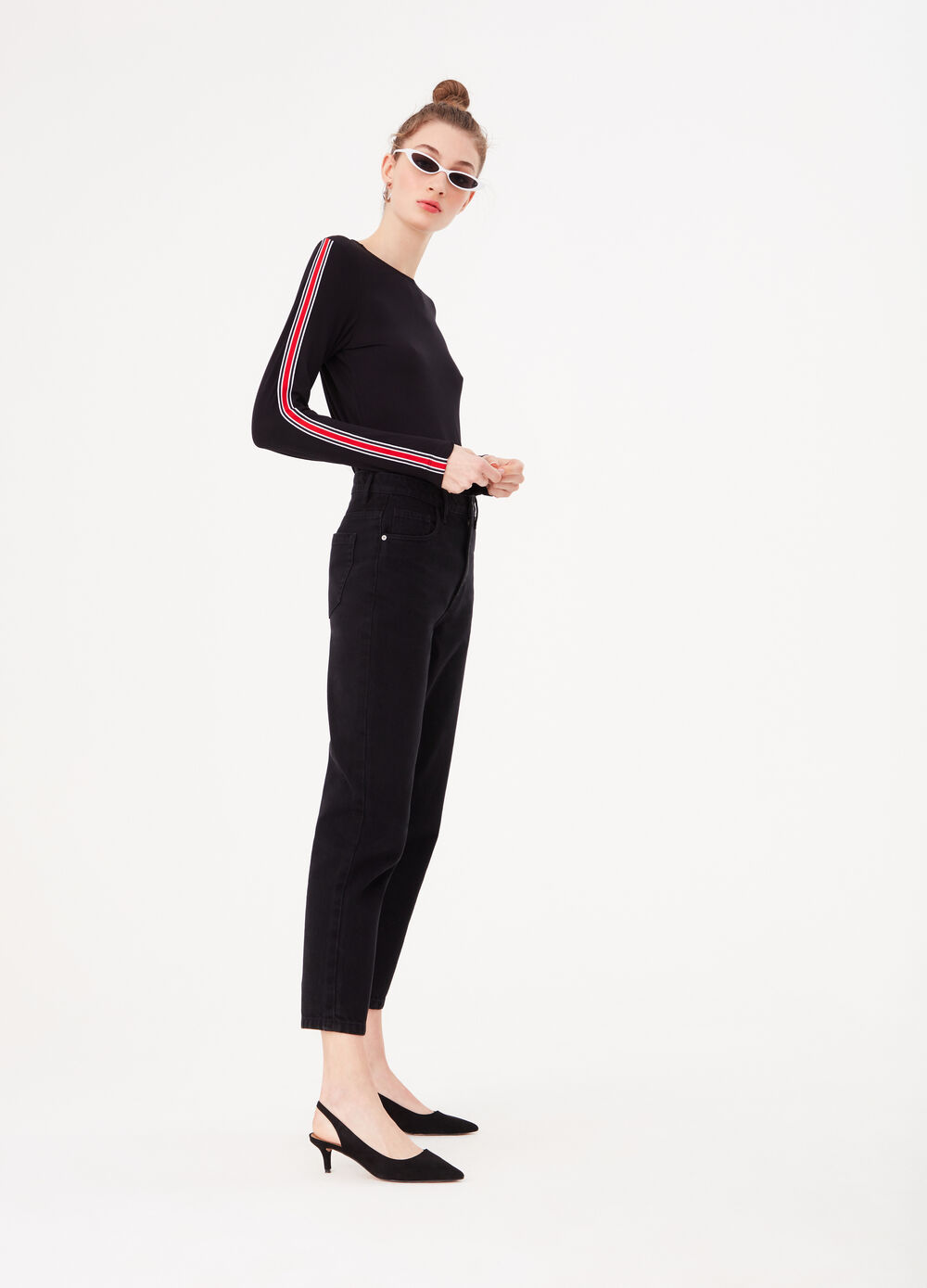 Stretch viscose T-shirt with striped bands
