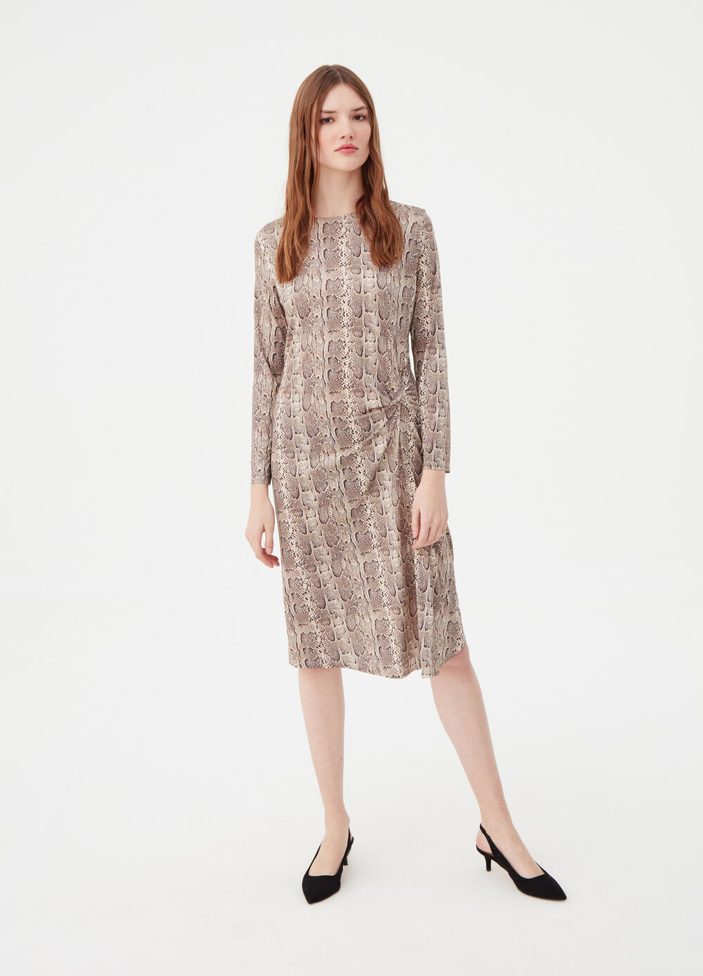 Long-sleeved dress with snakeskin print