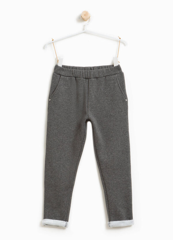 Cotton trousers with faux fur and turn ups | OVS