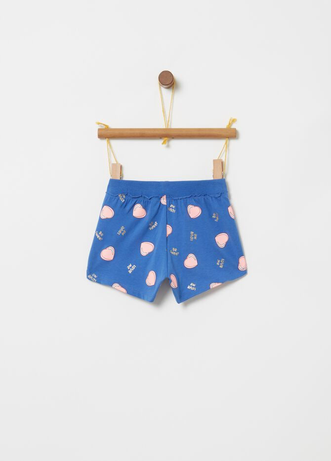 Shorts stretch costina stampa cuori glitter