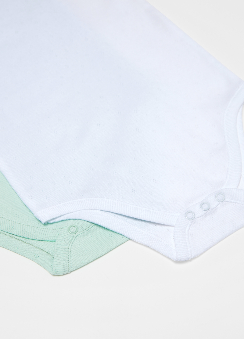 Two-pack solid colour bodysuits in cotton image number null