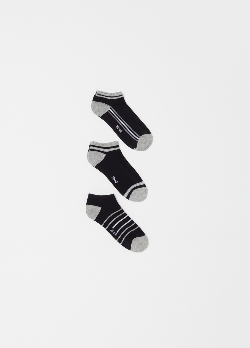 Three-pack stretch ankle socks with pattern image number null