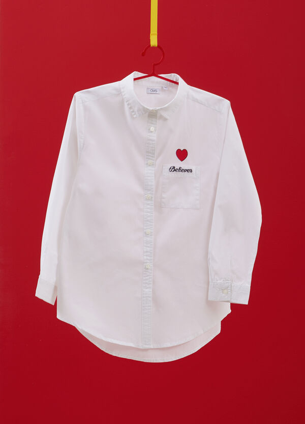 100% cotton shirt with embroidery and print