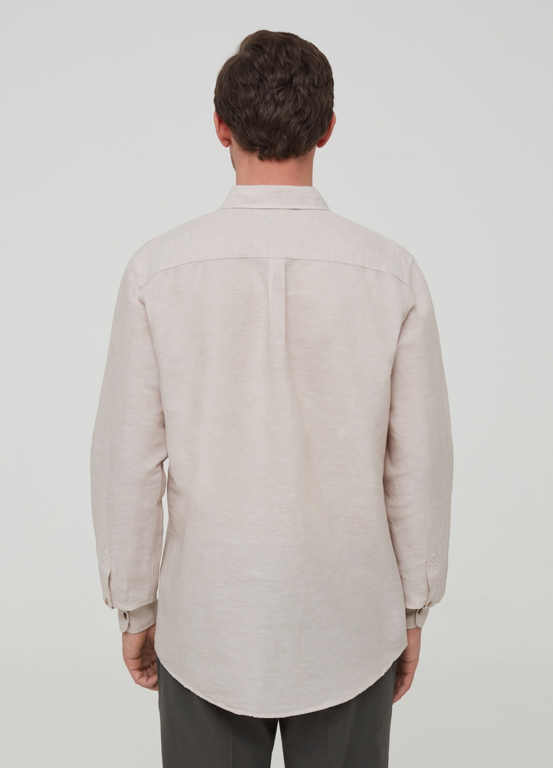 Solid colour linen and cotton shirt image number null