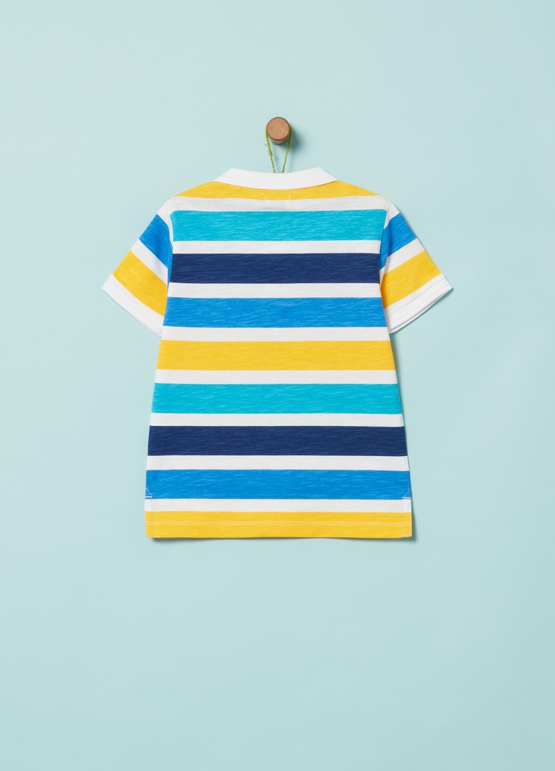 Polo in slub jersey fantasia righe image number null