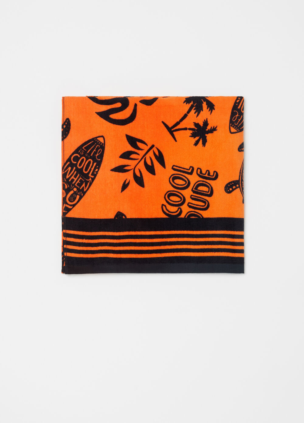 Beach towel in 100% cotton with navy pattern