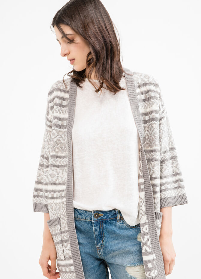 Long cardigan with patterned pockets