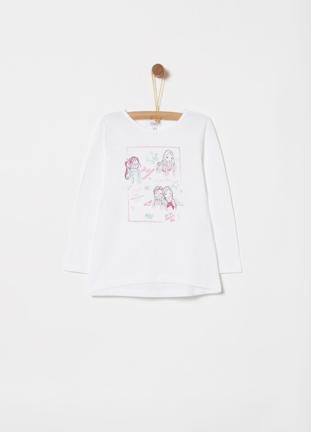 Jersey T-shirt with print and glitter