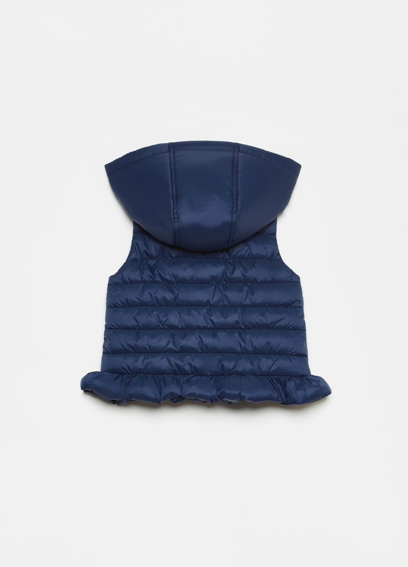 Padded gilet with hood and pleated hem image number null