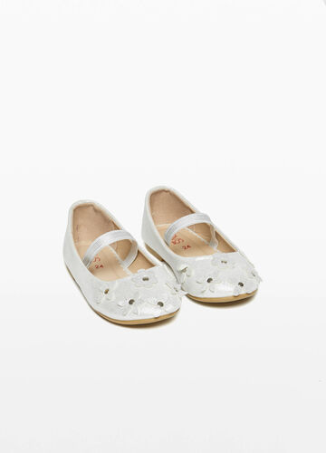 Glitter ballerina flats with flowers and studs