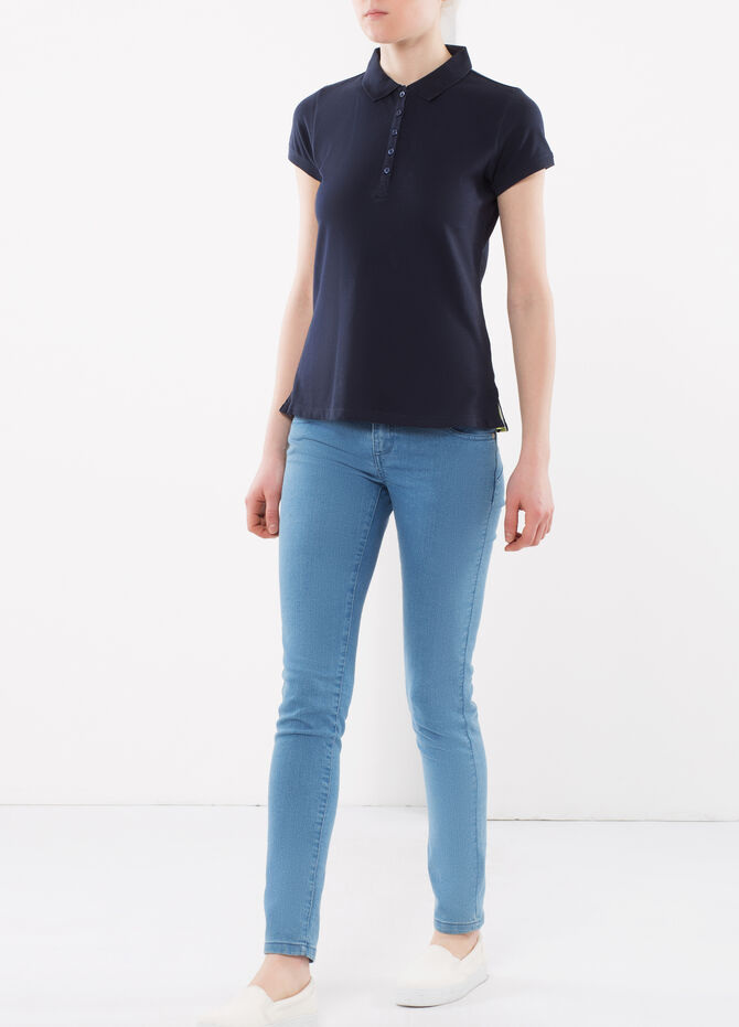 Five-button polo shirt
