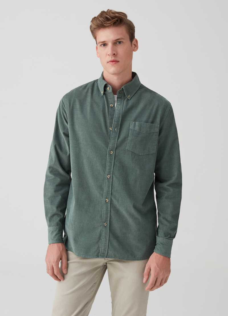 Regular-fit velvet shirt with pocket image number null