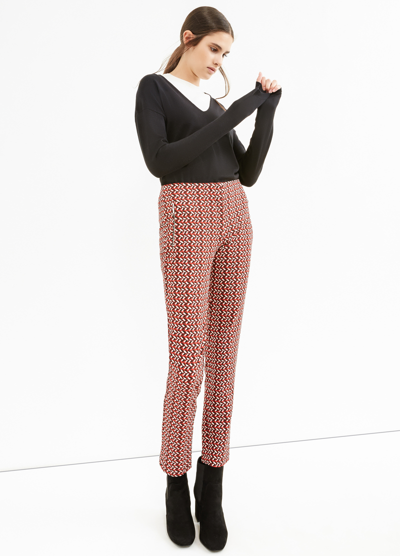 High waisted patterned stretch trousers image number null