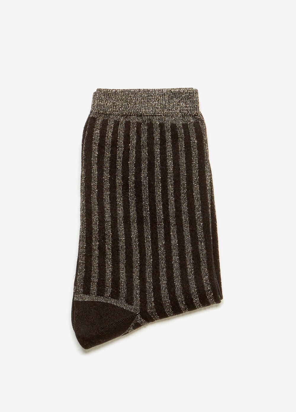 Short stretch socks with striped lurex effect