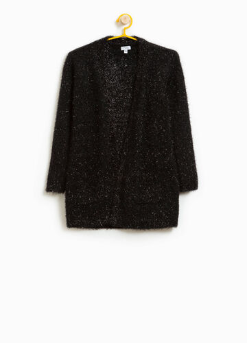 Long frayed cardigan with lurex