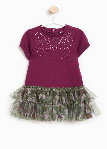 Stretch cotton dress with tulle frills
