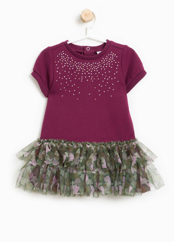 Stretch cotton dress with tulle frills | OVS