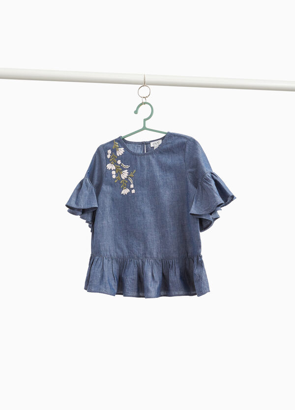 Denim blouse with flounce and embroidery