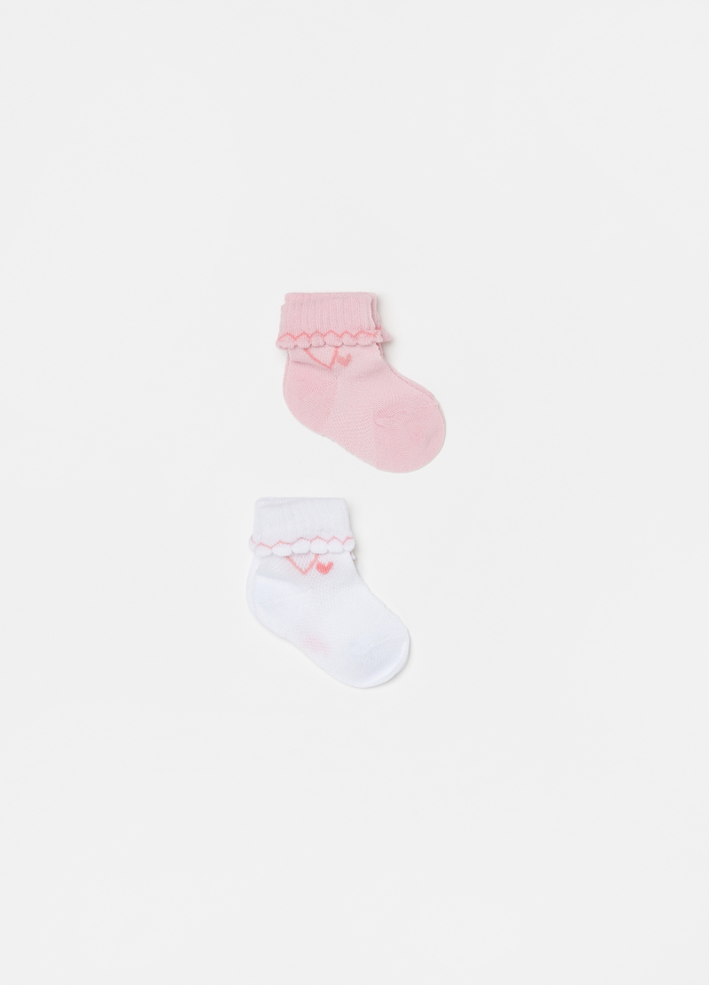 Two-pair pack short socks with small hearts image number null