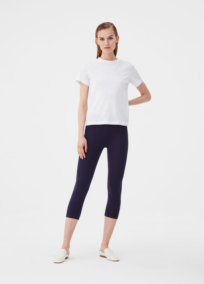 Solid colour three-quarter leggings