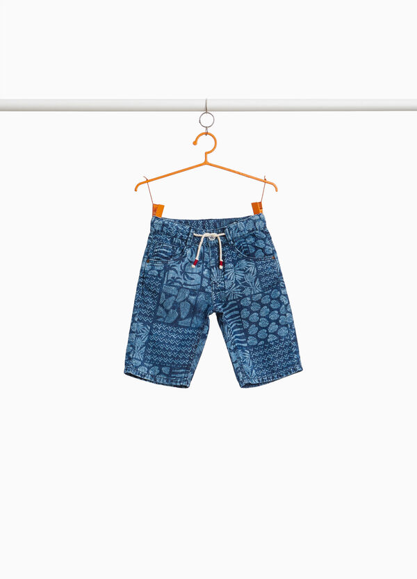 Shorts cotone stampa foliage all-over