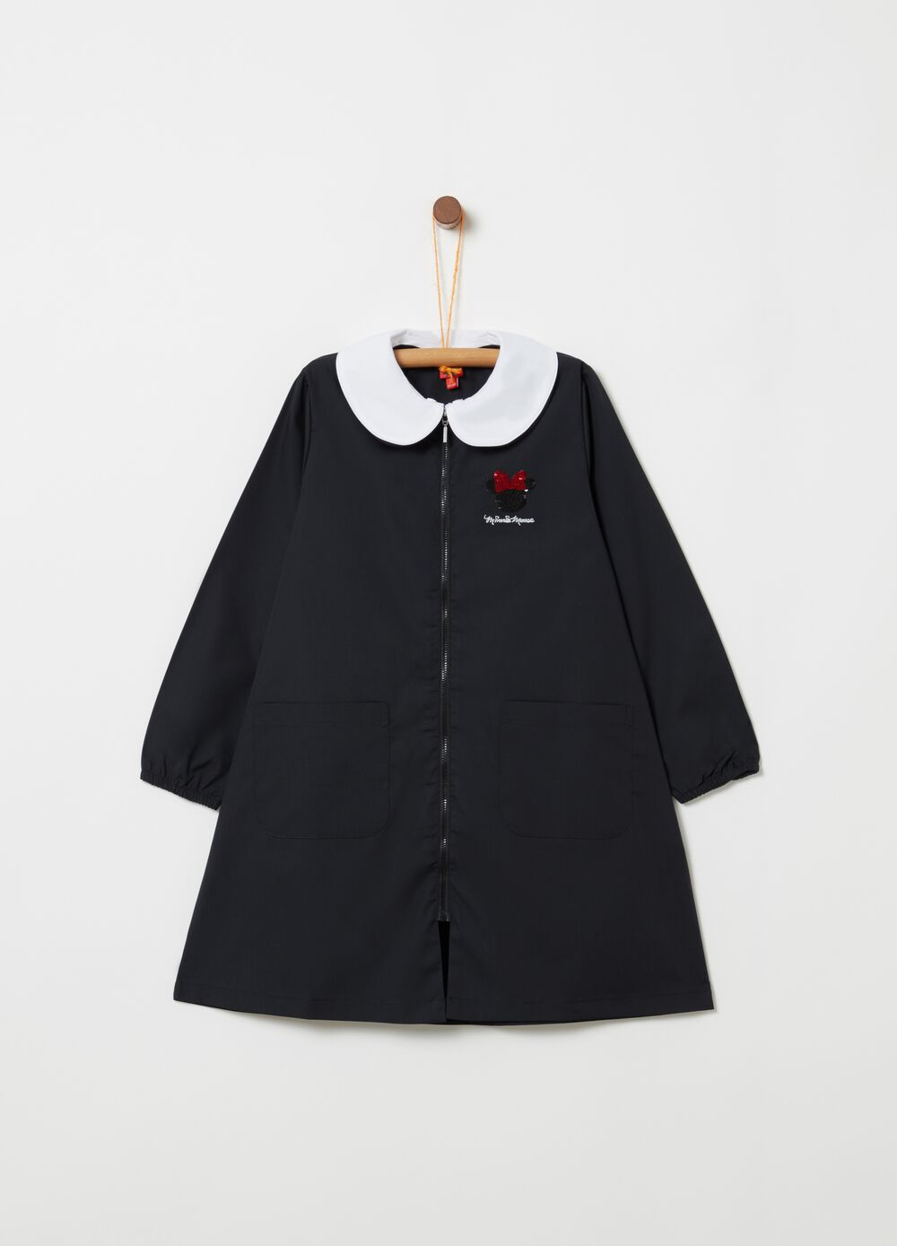 Smock with Minnie Mouse motif in sequins and embroidery