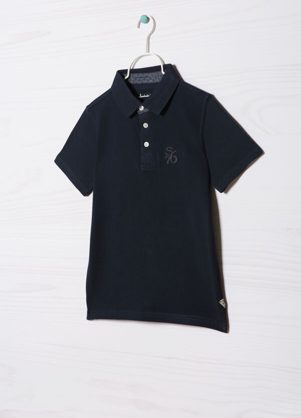 100% cotton polo shirt with embroidered lettering | OVS