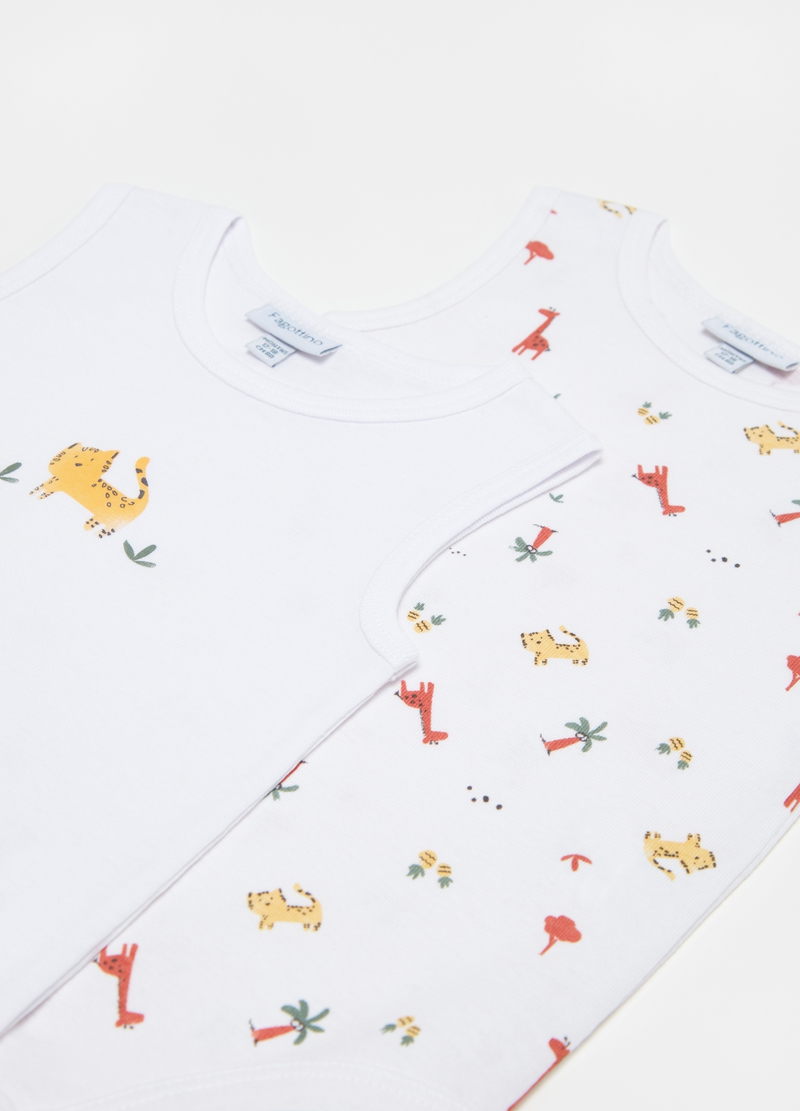Two-pack cotton bodysuits with animals print image number null