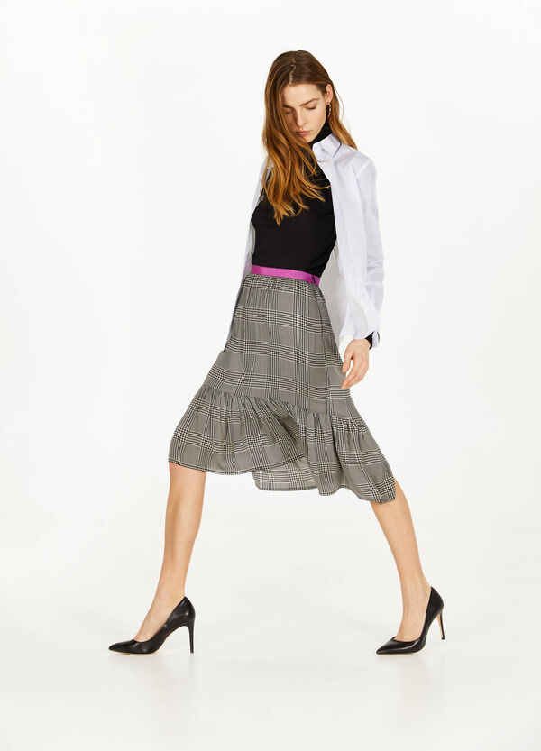 Pencil skirt with flounces