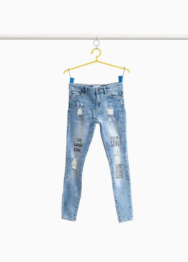Super-skinny-fit misdyed-effect printed jeans