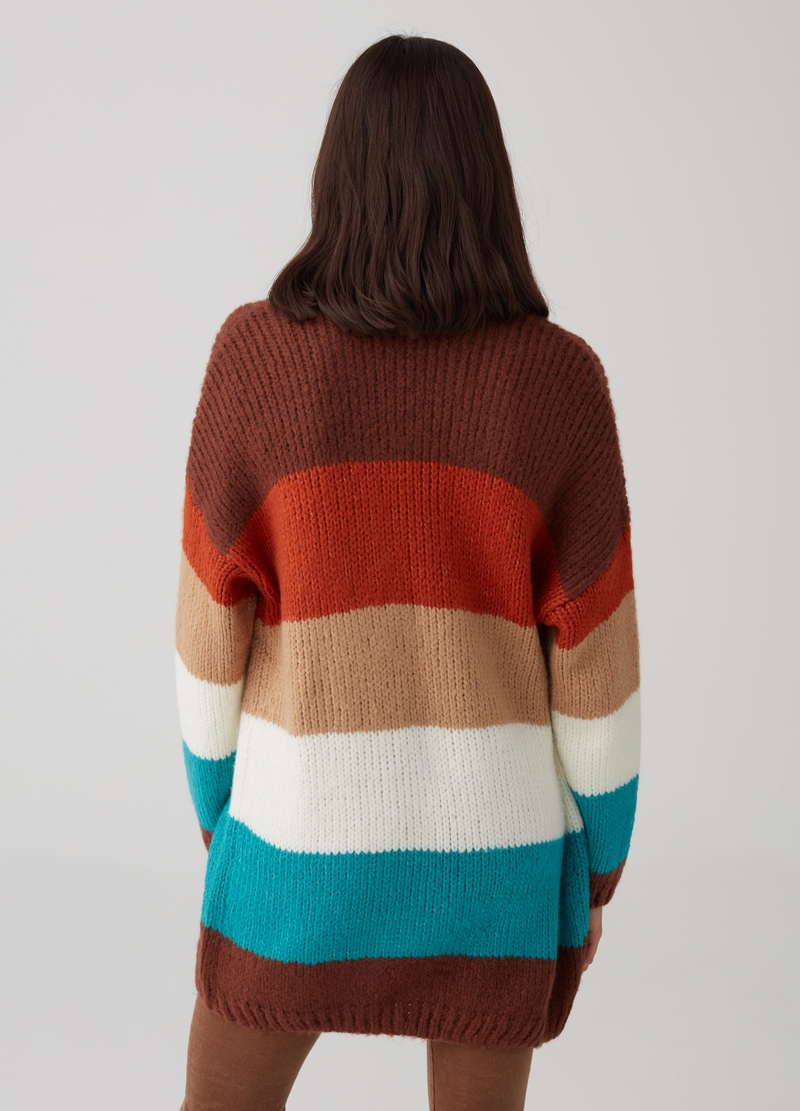 Open knit cardigan with striped pattern image number null