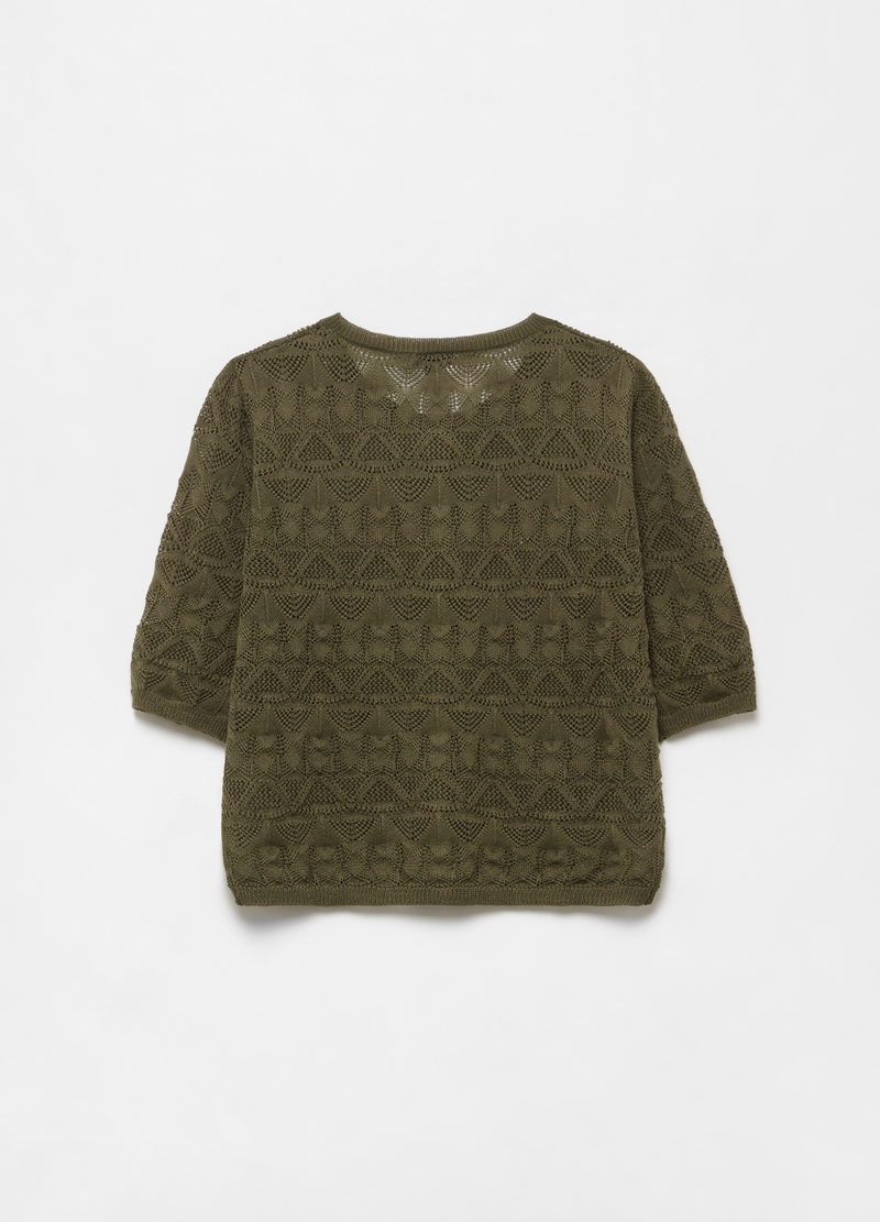 Linen blend cardigan with three quarter sleeves. image number null