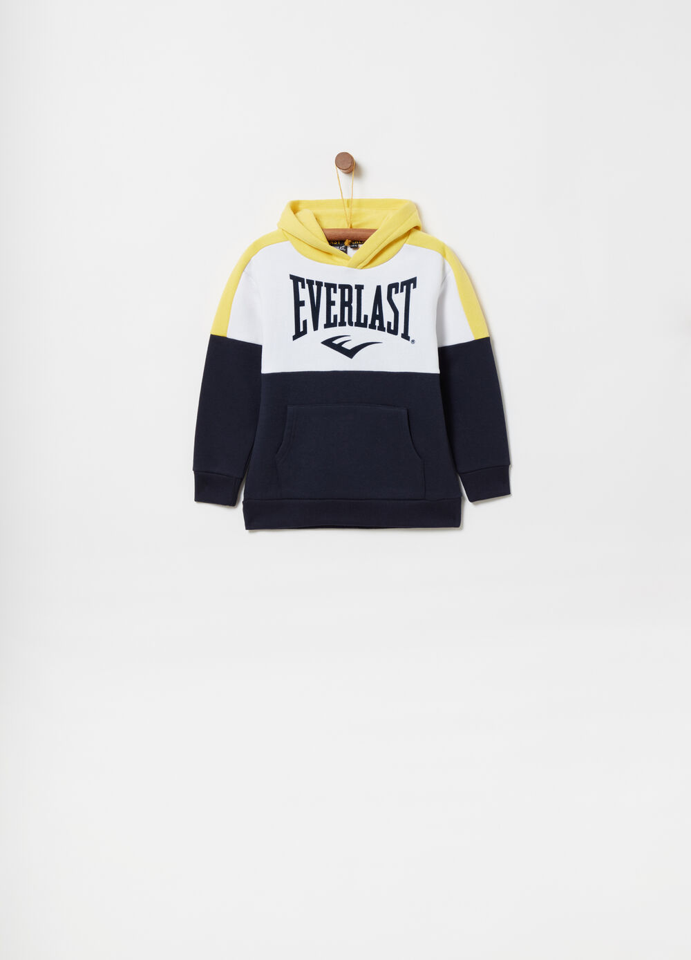 Colour block brushed sweatshirt with hood