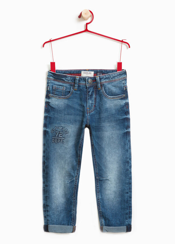Jeans effetto used stretch stampato | OVS
