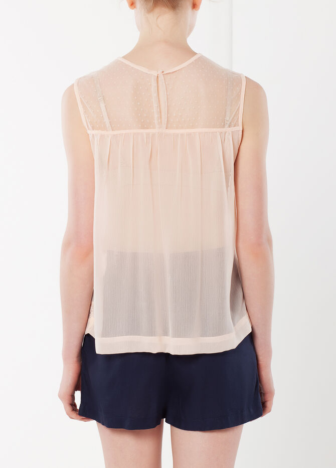 Semi-sheer top with lace inserts