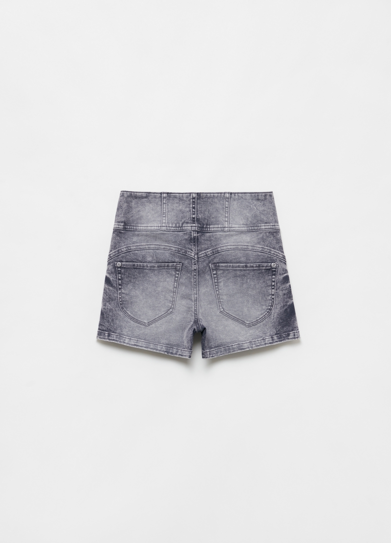 Denim shorts with high waist and buttons image number null
