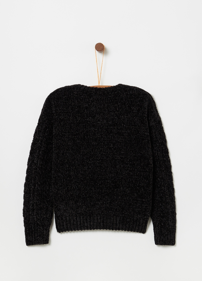 Knitted chenille top with ribbing image number null