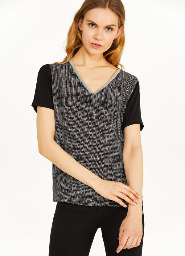 100% viscose T-shirt with herringbone pattern