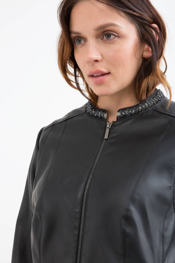 Curvy leather look jacket with applied diamantés
