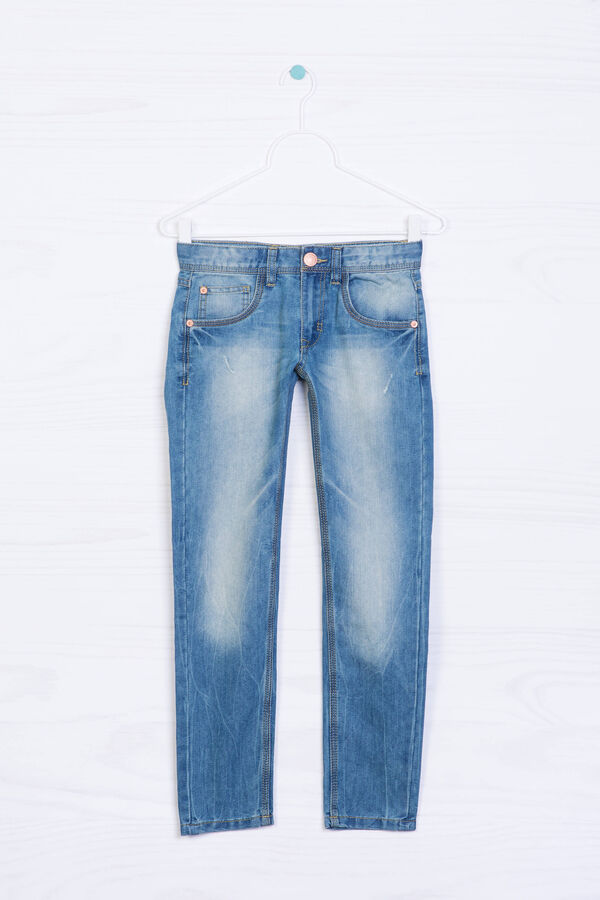 5-pocket jeans with faded effect. | OVS