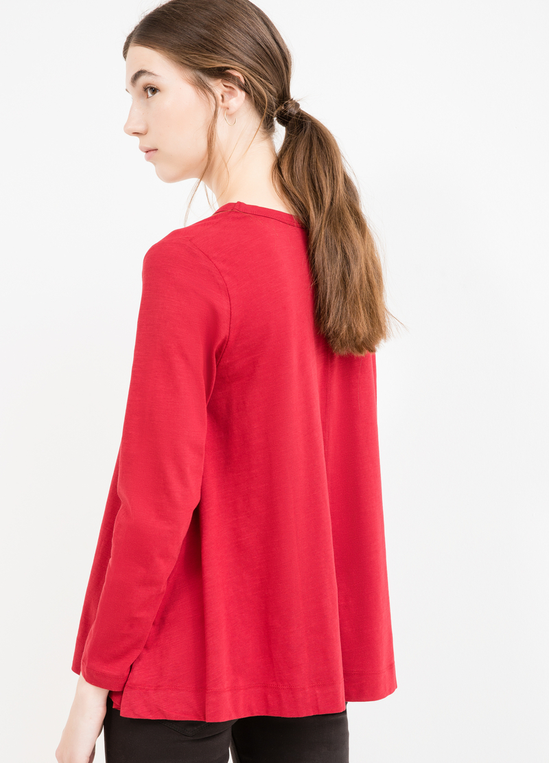 Long-sleeved T-shirt with flared hem image number null