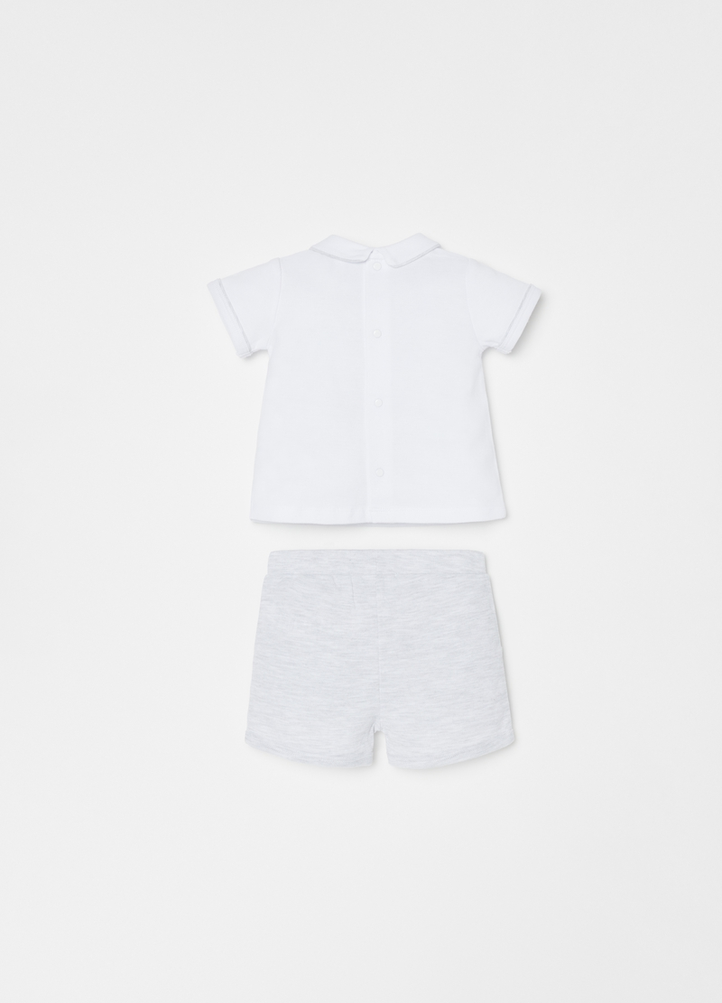 THUN T-shirt and shorts set in organic cotton piquet image number null
