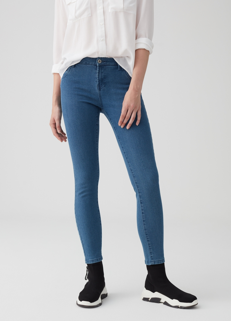 Skinny-fit stretch denim trousers image number null