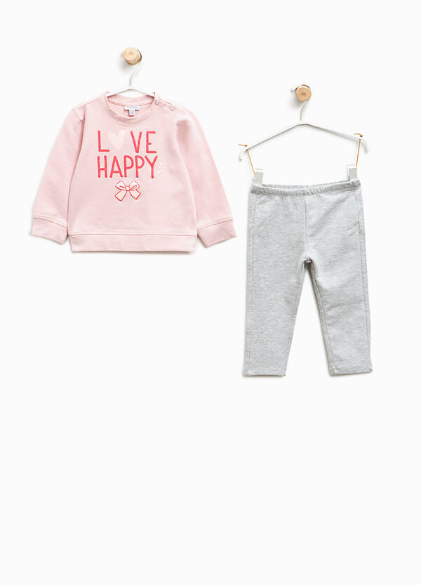 Tracksuit in stretch cotton with printed lettering | OVS